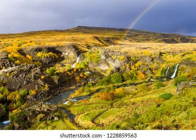 Rainbow over Gjain on Island