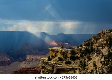 Rainbow over the Grand Canyon in Arizona USA national park
