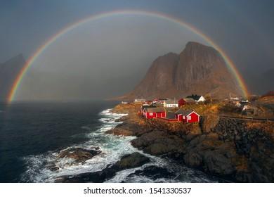Rainbow over Hamnoy, Lofoten islands, Norway