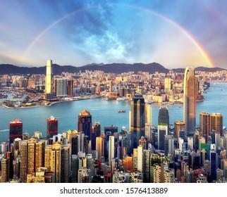 Rainbow over Hong Kong city skyline