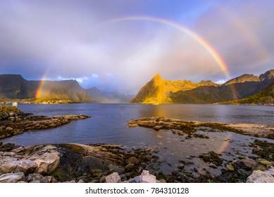Rainbow over the lake at Lofoten, norway