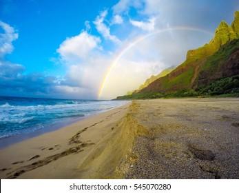 Rainbow over Na Pali, Kauai Hawaii