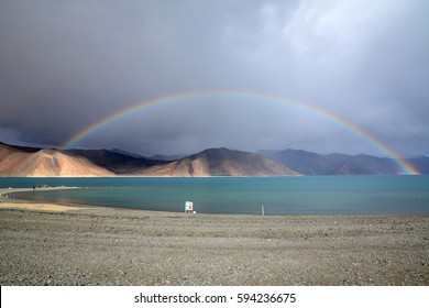 Rainbow over Panong Tso, Tibetan for 'high grassland lake', also referred to as Pangong Lake, is an endorheic lake in the Himalayas situated at a height of about 4,350 m (14,270 ft).