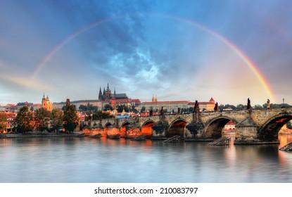 Rainbow over Prague castle, Czech republic