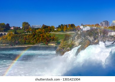 rainbow over Rhine Falls, view from the Laufen castle.  Rhine Falls is a waterfall, located on the border between the Swiss cantons of Zurich and Schaffhausen