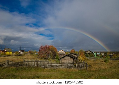 Rainbow over the Russian village