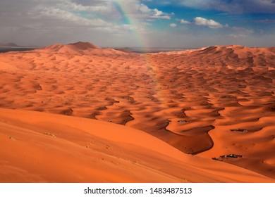 Rainbow over the Sahara Desert