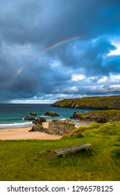 Rainbow Over Sango Bay Beach At The Village Of Durness In Scotland