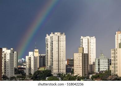 Rainbow over the Sao Paulo city