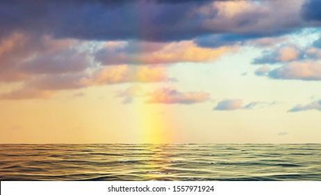Rainbow over the sea in Denmark