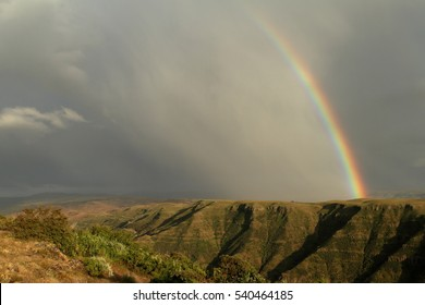 A rainbow over the Simien mountains in Ethiopia