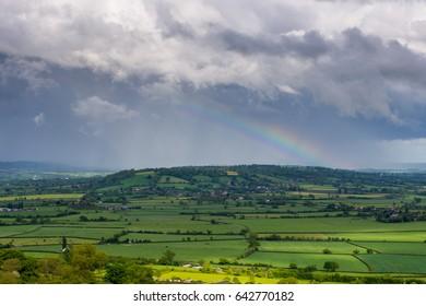 Rainbow over Somerset - view from Glastonbury Tor