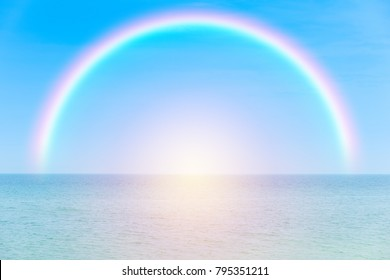 Rainbow over tropical sea background. vintage filter