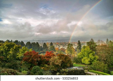 rainbow over Vancouver city before sunset on a rainy day