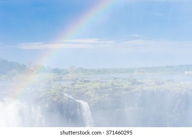 Rainbow over the Victoria Falls, Zambezi River, Zimbabwe and Zambia