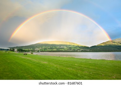 A rainbow over Voss city in Norway