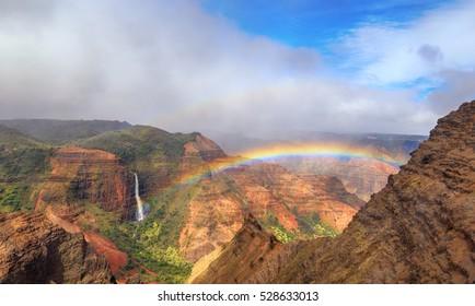 Rainbow over Waimea Canyon in Kauai, Hawaii
