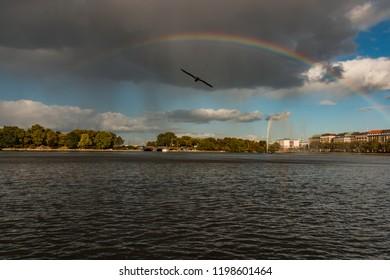 rainbow over the water, hamburg