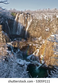 Rainbow over waterfalls at Plitvice Lakes national park in Croatia