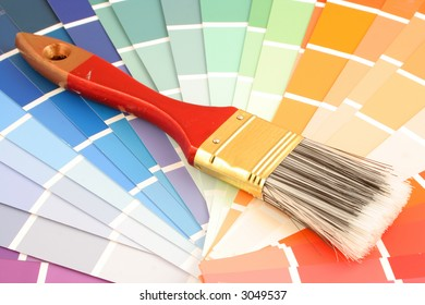 rainbow paint swatches, and small paint roller for home decorating