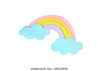 Rainbow paper cut on white background - isolated