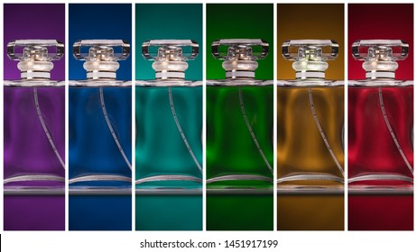 Rainbow perfume bottles panoramic view. Cologne, eau de parfum, fragrance for man and woman bottle