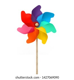 Rainbow pinwheel isolated on white