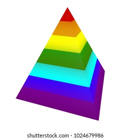 Rainbow pyramid isolated on white background. Children's toy. Rainbow style, 3d illustration