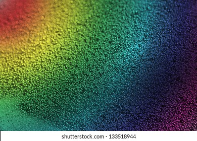rainbow with raindrops on the glass