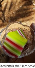 rainbow ribbon jello layered dessert cup
