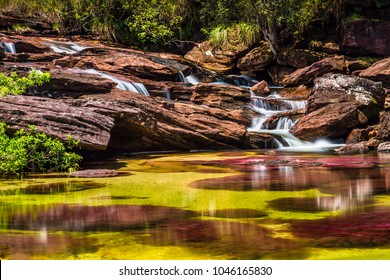 The rainbow river or five colors river is in Colombia one of the most beautiful nature places, is called Crystal Canyon or Cano Cristales