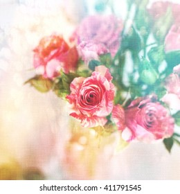Rainbow roses background may be used as a wedding invitation