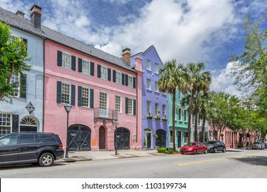 Rainbow Row in Charleston in South Carolina