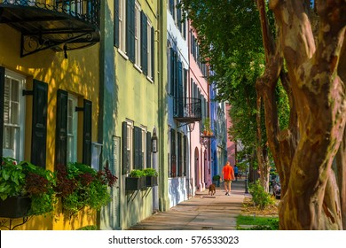 Rainbow Row colorful and well-preserved historic Georgian row houses in Charleston, South Carolina, USA