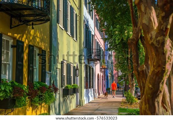 Rainbow Row colorful and well-preserved historic Georgian row houses in Charleston, South Carolina, USA