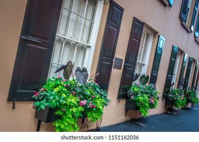 Rainbow row street in charleston south carolina scenery and historic architecture