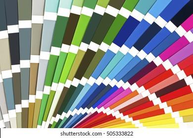 Rainbow Sample Colors Catalog. Color Palette Guide Background.