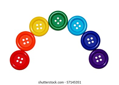 rainbow of seven colored buttons isolated on white background