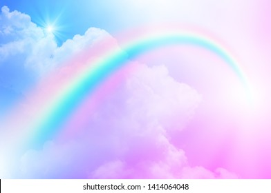 rainbow sky colorful soft clouds 260nw 1414064048