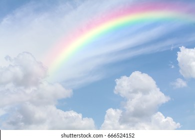 rainbow sky halo in the light blue sky with soft white fluffy clouds during the summer after the rain