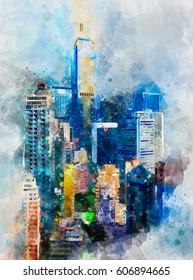 Rainbow skyscrapers of Hong Kong in abstract watercolor paints. Digital painting
