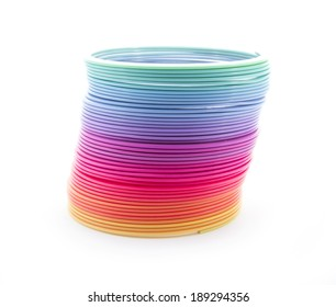 rainbow spiral spring isolated on white background