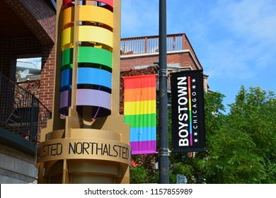 Rainbow streetscape along North Halsted St. in the Boystown neighborhood of Chicago