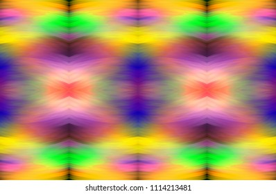 Rainbow structure of soft, smeared strokes. Bright multicolored textural background. Fractal abstraction. Symmetrical seamless pattern. Imitation of ethnic patterns