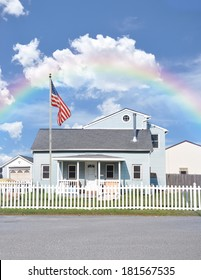 Rainbow Suburban Home White Picket Fence American Flag residential neighborhood usa blue sky clouds
