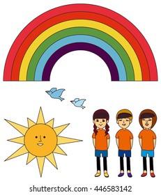 Rainbow, sun, birds, girls