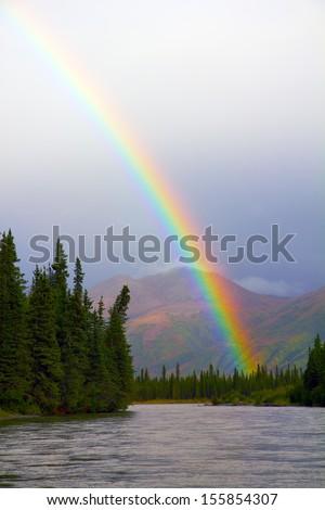 Rainbow at Sunset on the Nenana River in Alaska
