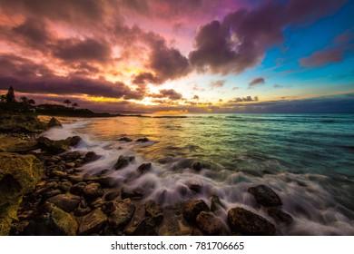 Rainbow sunset on Oahu's North Shore