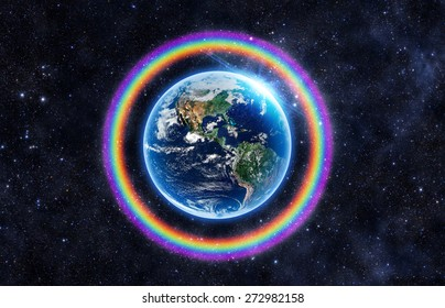 Rainbow Surrounds the Earth - Elements of this Image Furnished by NASA