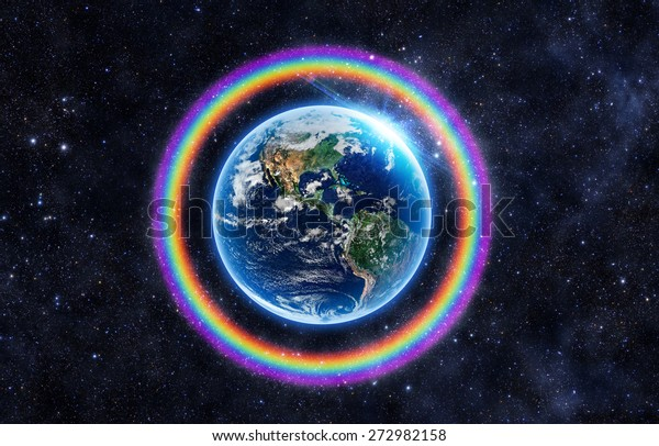 Rainbow Surrounds Earth Elements This Image Stock Photo Edit Now